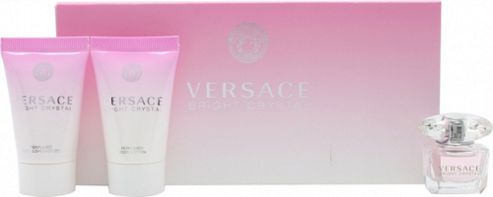 Versace Bright Crystal Gift Set 5ml EDT + 25ml Body Lotion + 25ml Shower Gel For Women