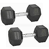 Confidence Fitness 2 X 15Kg Anti-Roll Hex Rubber-Coated Cast Dumbbells Weights