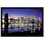 Brooklyn Bridge Black Wooden Framed Twilight Technicolor Poster