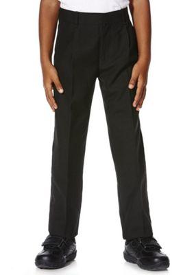 "F&F School 2 Pack of Boys Teflon EcoElite""™ Plus Fit Pleat Front Trousers 3-4 years Black"