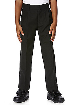 "F&F School 2 Pack of Boys Teflon EcoElite""™ Plus Fit Pleat Front Trousers - Black"