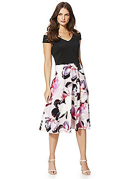 Roman Originals Floral Print Cold Shoulder Skater Dress - Black & Pink