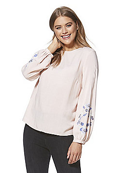 F&F Embroidery Print Blouse - Pale pink