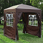 Outsunny 2m x 2m Garden Duty Pop Up Gazebo Wedding With Carrying Case Coffee