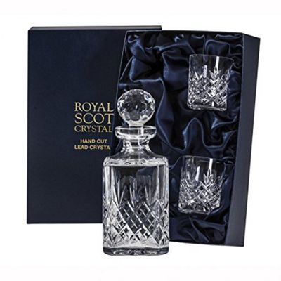 Royal Scot Crystal Edinburgh Crystal Square Spirit Whisky Decanter Set with Whisky Tumbler Glasses x 2