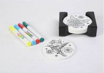 Dexam Just Add Colour Set of 4 Coasters with Marker Pens, Garden Friends