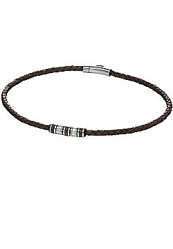 Mens Fred Bennett Brown Leather Striped Barrel Necklace