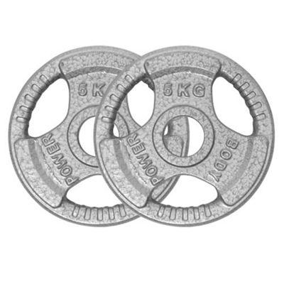 Body Power TRI-GRIP Cast Iron Olympic Discs - 5Kg (x2)