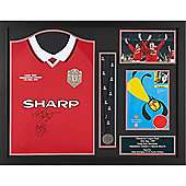 Framed and domed Teddy Sheringham & Ole Gunnar Solksjaer signed boot display from their Manchester United careers