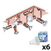 Consul 6 Way LED Ceiling Spotlight, Copper & Warm White GU10 Bulbs