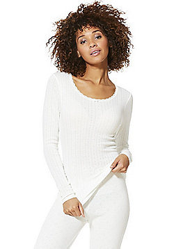 F&F Pointelle Long Sleeve Thermal Top - Cream