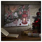 LED Gingham Lantern Christmas Canvas