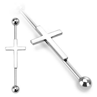 Urban Male Silver Surgical Stainless Steel Scaffold Barbell With Cross Design