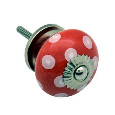 Ceramic Cupboard Drawer Knob - Polka Dot Design - Red / White