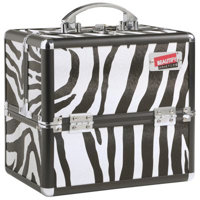 Beautify Small Zebra Print Beauty Cosmetics Make Up Case