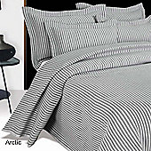 Homescapes Grey and White Quilted Striped Bedspread, King