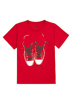 Converse All Star Red Hi Top Tee Available In 4-5Y/5-6Y/6-7Y - Red