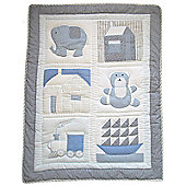 Handmade Pocket Stitched Cot Wrap Quilt by Powell Craft Blue