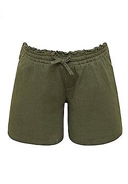 Mamalicious Frill Waistband Shorts - Khaki