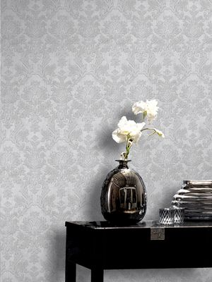 Textured Vinyl Damask Wallpaper Grey and Silver P+S 02485-10