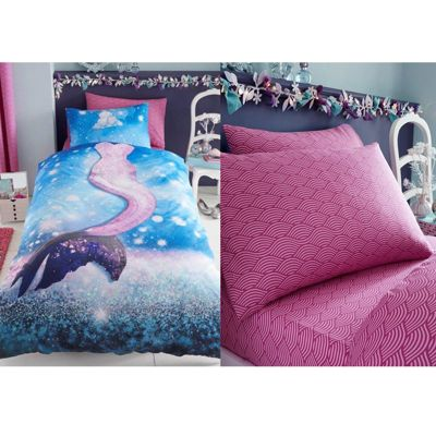 Mermaid Single Duvet Cover, Fitted Sheet & Pillowcase Set