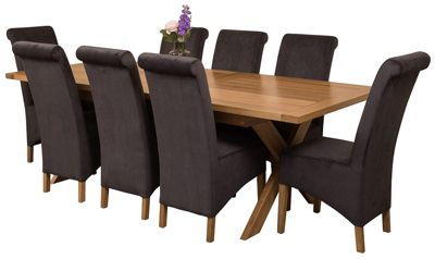 Vermont Extending Kitchen Solid Oak Dining Set Table + 8 Black Fabric Chairs