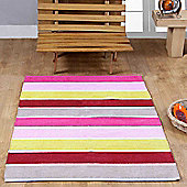Homescapes Cotton Chenille Striped Rug Pink Beige Red Yellow Candy, 90 x 150 cm