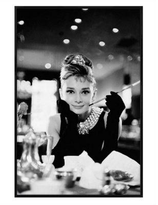 Gloss Black Framed Breakfast At Tiffany's Audrey Hepburn is Holly Golightly Poster