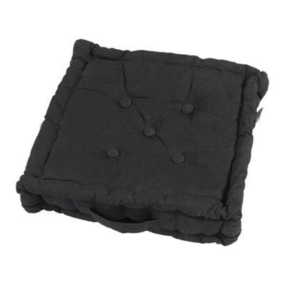 Homescapes Cotton Black Floor Cushion, 50 x 50 cm
