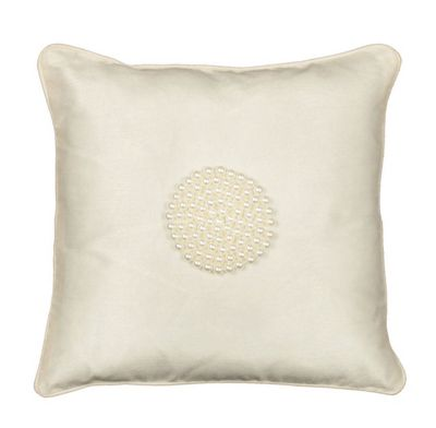 Ivory Pearl Small Cushion Soft and Shiny Fabric