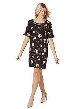 Vero Moda Floral Print Frill Sleeve Jersey Dress - Black multi