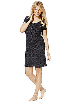 Mamalicious Heart Print Maternity Nightdress - Navy