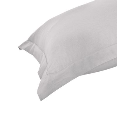 Homescapes Silver Grey Plain Oxford Pillowcase 100% Egyptian Cotton Pillow Cover 200 TC, King Size