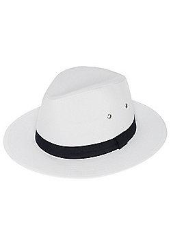 F&F Wide Brim Fedora Hat - White