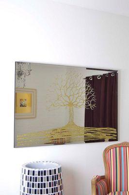 Modern Design Liquid Glass Gold Glitter Tree Mirror Large 4 X 2Ft8 120Cm X 80Cm