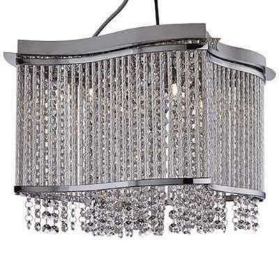 ELISE 4 LIGHT SQUARE CEILING FLUSH, CHROME, CLEAR CRYSTAL BUTTON DROPS, ALUMINIMUM TUBES TRIM