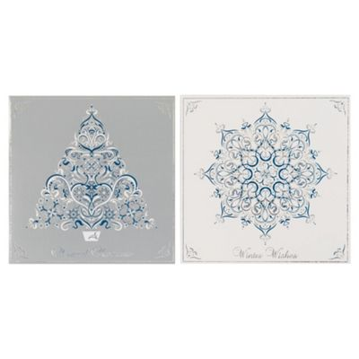 Tesco Holographic Tree & Snowflake Christmas Cards, 12 Pack