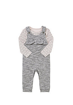 F&F Spotty Long Sleeve Bodysuit and Frill Trim Dungarees Set - Pink & Grey
