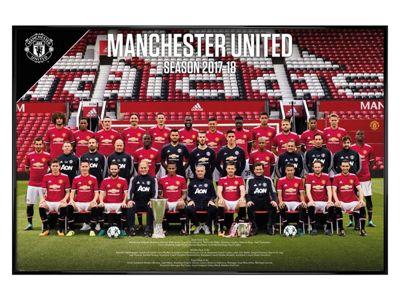 Manchester United FC Gloss Black Framed Team Photo 17-18 Poster