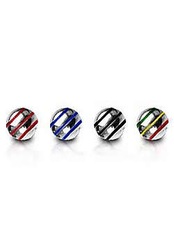 Urban Male Pack of Four Stainless Steel Threaded Striped Balls 1.6mm