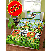 Jungle Friends 4 in 1 Junior Bedding Bundle Set