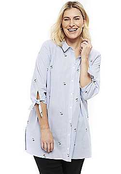 Evans Striped Cherry Embroidery Plus Size Shirt - Blue