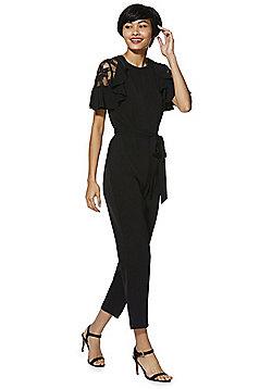 F&F Lace Insert Frill Trim Jumpsuit - Black