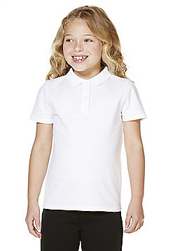 """F&F School 2 Pack of Girls Teflon EcoElite""""™ Polo Shirts with As New Technology - White"""