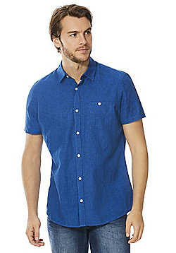F&F Linen-Blend Short Sleeve Shirt - Admiral Blue