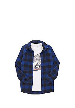 F&F Checked Shirt and T-Shirt Set - Blue & White