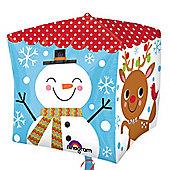Snowman & Santa Cubez Balloon - 24 inch Foil