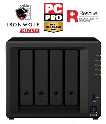 Synology DiskStation DS918+/24TB-IW Pro 4-bay 24TB(4x6TB Seagate IronWolf Pro) powerful and scalable NAS