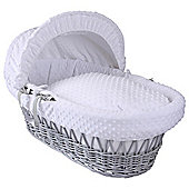 Clair de Lune Grey Wicker Moses Basket (Dimple White)
