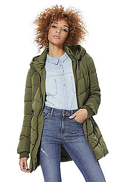 Only Faux Fur Trim Padded Coat - Olive
